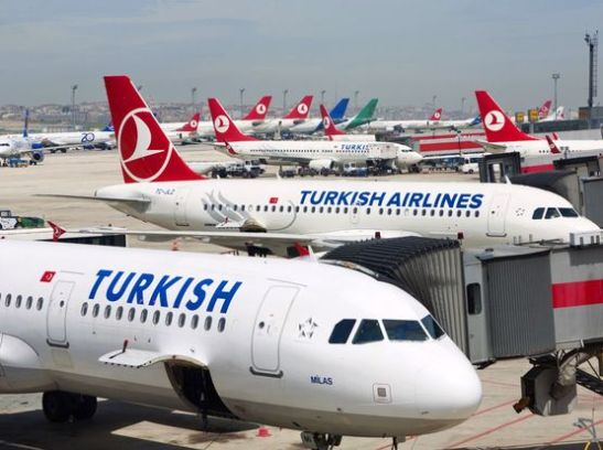 Mandatory Credit: Photo by David Pearson/Rex / Rex USA (1074422a) Turkish Airlines planes at Ataturk international airport in Istanbul Turkey Istanbul, Turkey - Jun 2012