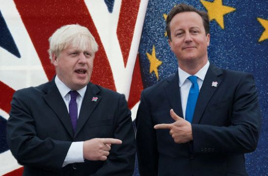 (FILES) This file photo taken on August 24, 2012 shows British Prime Minister David Cameron (R) and London Mayor Boris Johnson (L) pointing at each other as the London 2012 Paralympic Cauldron is lit in London's Trafalgar Square, on August 24, 2012. Prime Minister David Cameron made a last-ditch appeal to London Mayor Boris Johnson on February 21, 2016 to support Britain staying in the EU as battle lines hardened ahead of a June 23 membership referendum. / AFP / WILL OLIVERWILL OLIVER/AFP/Getty Images